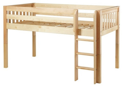 Bennett Natural Twin XL Low Loft Bed with Slatted Ends