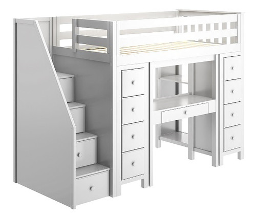 Chelsea White Twin Loft Beds for Kids