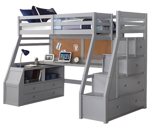 Jasper Gray Twin Loft Bed with Stairs and Desk