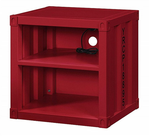 Shipping Container Red Metal Nightstand