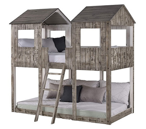 Fort Friday Weathered Grey Twin Junior Bunk Bed