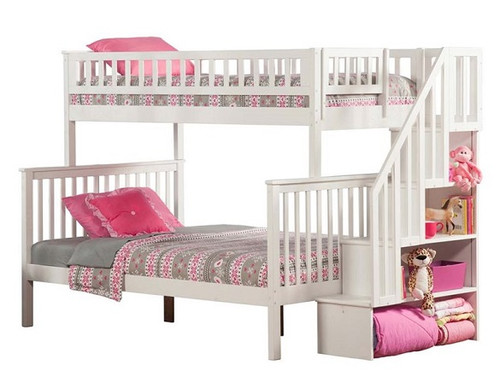 Twin Over Full Bunk Bed With Stairs For Adults Kids