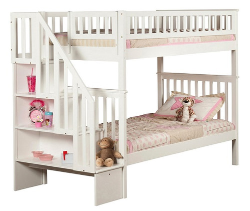 Natalie Marie White Twin Size Kids Bunk Beds with Stairs