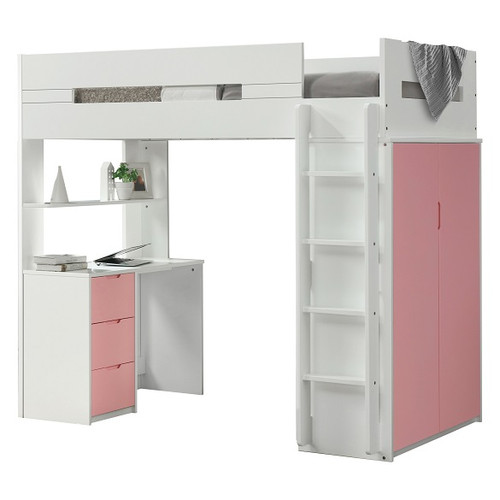 Cosmos White and Pink Twin Loft Bed with Desk and Storage