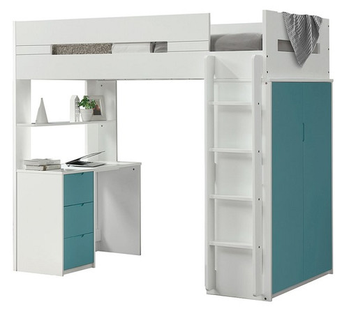 Cosmos White and Teal Twin Loft Bed with Desk and Storage