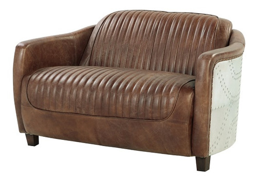 Malcolm Leather and Aluminum Loveseat