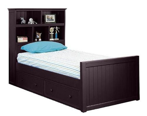 Foster Espresso Twin Bookcase Bed twin size