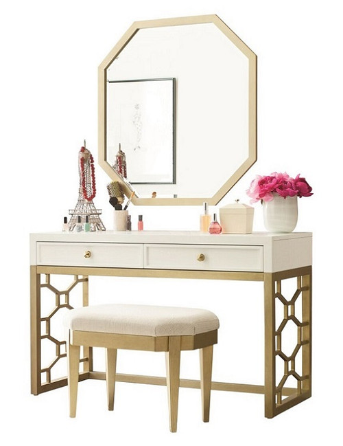 Antoinette White and Gold Makeup Vanity with mirror