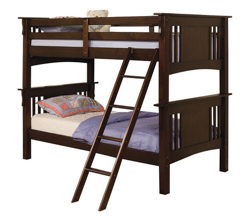 Cleveland Dark Walnut Bunk Beds twin over twin size