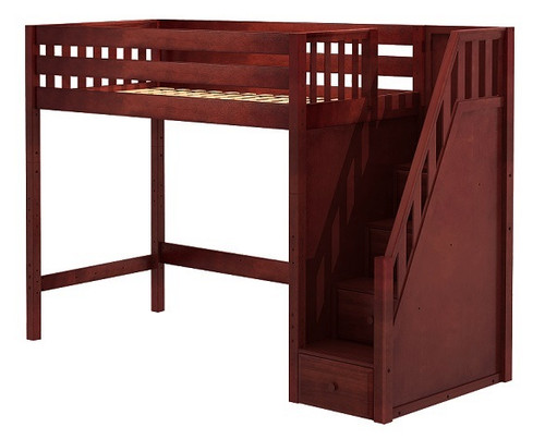 Hayes Chestnut Twin XL Loft Bed with Stairs Slatted End