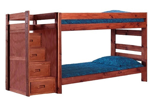 Jericho Mahogany Wooden Bunk Beds with Stairs twin size