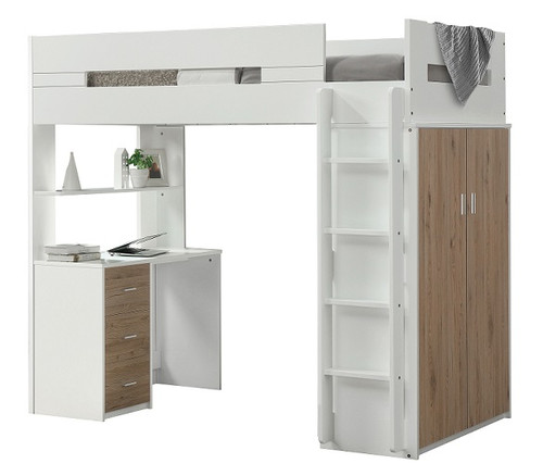 Cosmos White and Oak Twin Loft Bed with Desk and Storage