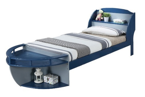 High Seas Navy Blue Twin Boat Bed