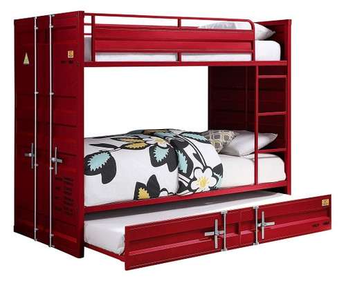 Shipping Container Twin Red Metal Bunk Beds