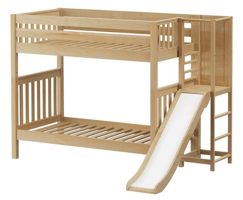 Casey Natural Kids Twin Bunk Bed with Slide
