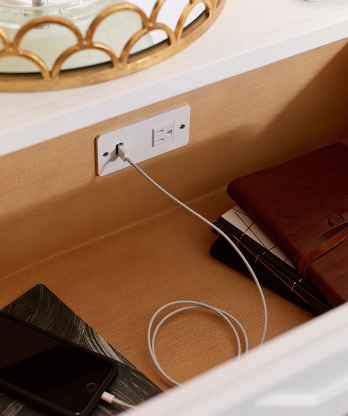 Antoinette White and Gold Nightstand with Charging Station detail