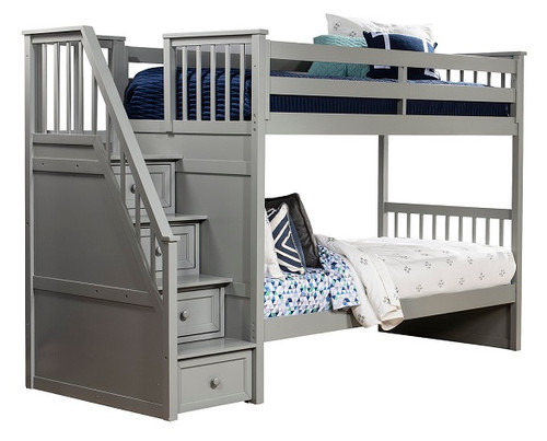 Barrett Gray Twin over Twin Bunk Bed with Stairs