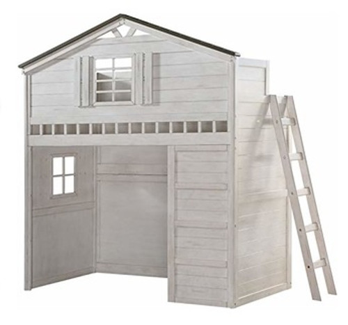 Fort Trudy Whitewash Twin Playhouse Loft Bed