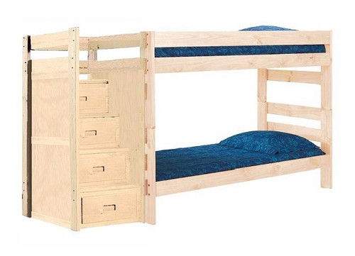 Jericho Unfinished Wooden Bunk Beds with Stairs