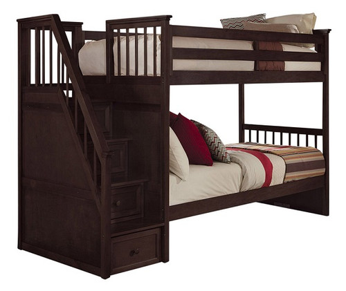 Dolan Chocolate Twin over Twin Bunk Bed with Stairs