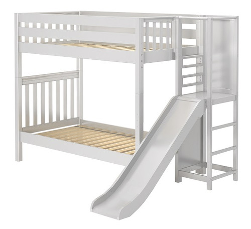 Casey White Kids Twin Bunk Bed with Slide