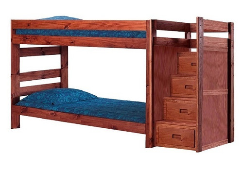 Jericho Mahogany XL Wooden Bunk Beds with Stairs XL Twin