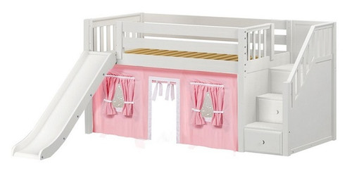 Decorah White Fort Girls Twin Low Loft Bed with Stairs
