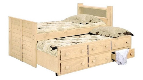 Duke Unfinished Bookcase Twin XL Captains Bed with Trundle