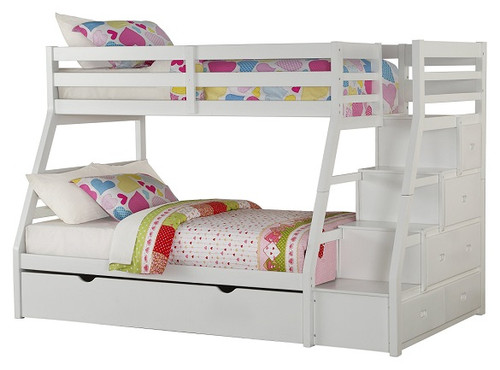 Warner White Twin over Full Bunk Bed with Stairs