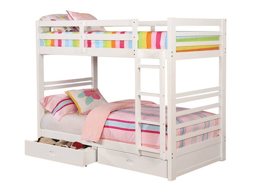 Paisley White Bunk Beds with Storage Twin size