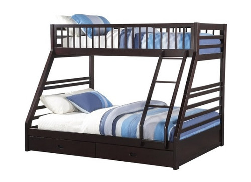 Trevor Espresso Twin over Queen Bunk Bed with Drawers