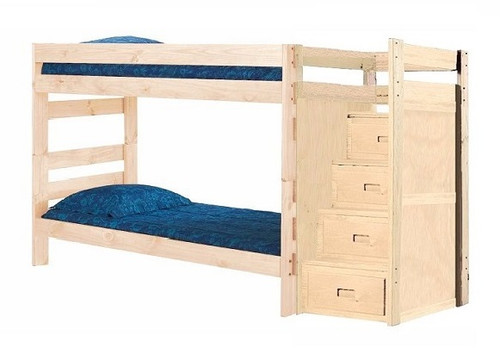 Jericho Unfinished XL Wooden Bunk Beds with Stairs XL Twin