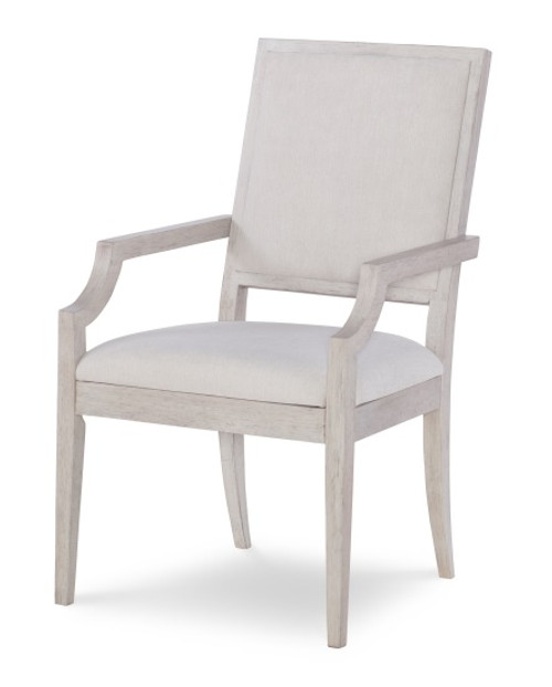 Alvoranda Brushed Gray Upholstered Dining Chair with Arms front
