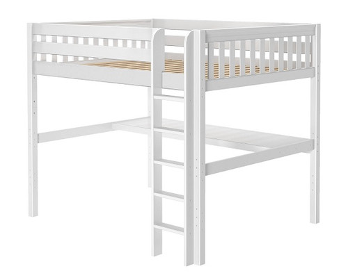 Lily White Queen Loft Bed with Desk