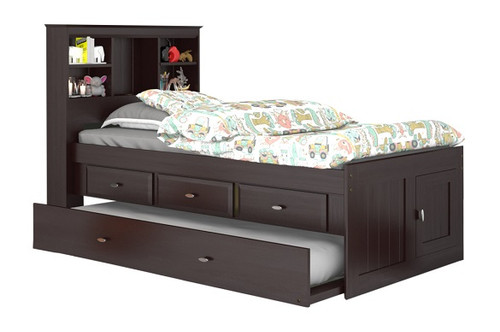 Phoenix Espresso Bookcase Twin Captains Bed with Trundle