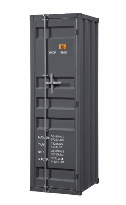 Shipping Container Gray Metal Wardrobe