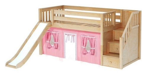 Decorah Natural Fort Girls Twin Low Loft Bed with Stairs