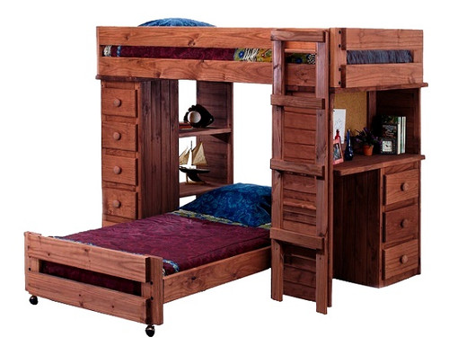 Henderson Mahogany Twin over Twin Loft Bed with Desk and Storage