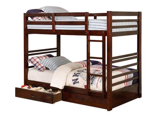 Seymore Dark Walnut Bunk Beds with Storage twin size