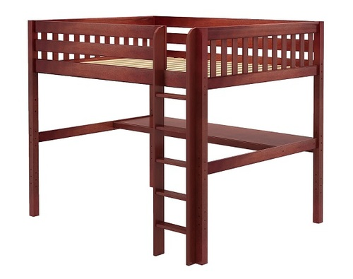 Theo Chestnut Queen Loft Bed with Desk