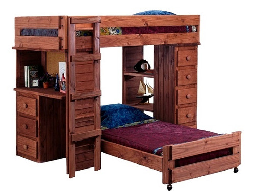 Henderson Mahogany Twin XL over Twin XL Loft Bed with Desk and Storage