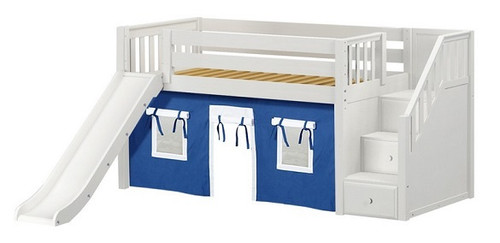 Buckingham White Fort Boys Twin Low Loft Bed with Stairs