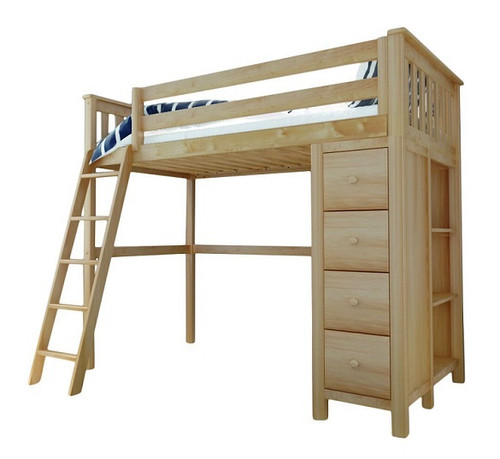 Delaney Natural Twin Loft Bed with Storage