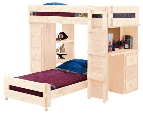 Henderson Unfinished Twin over Twin Loft Bed with Desk and Storage