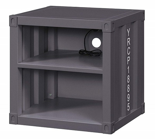 Shipping Container Gray Metal Nightstand