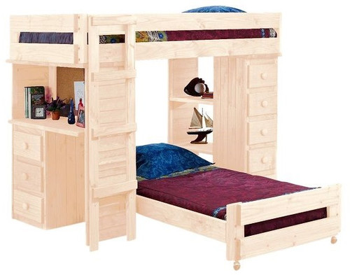 Henderson Unfinished Twin XL over Twin XL Loft Bed with Desk and Storage