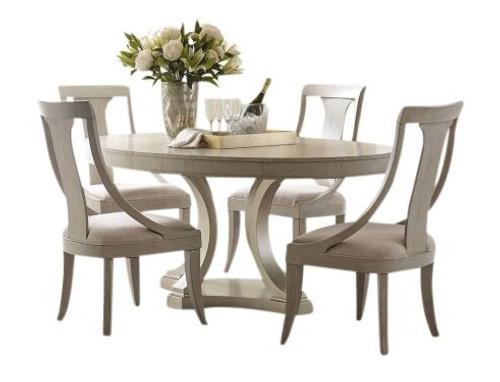 Alvoranda Brushed Gray Oval Dining Table Set