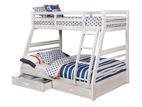 Callum White Sand Twin over Full Bunk Bed with Storage