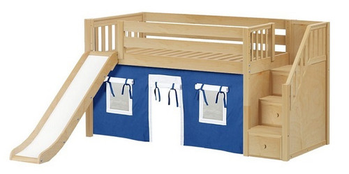 Buckingham Natural Fort Boys Twin Low Loft Bed with Stairs