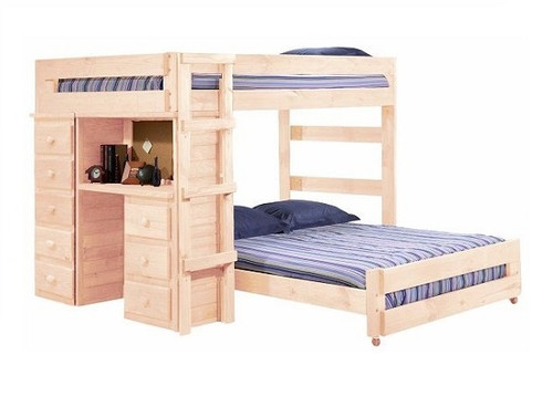 Henderson Unfinished Full over Full Loft Bed with Desk and Storage
